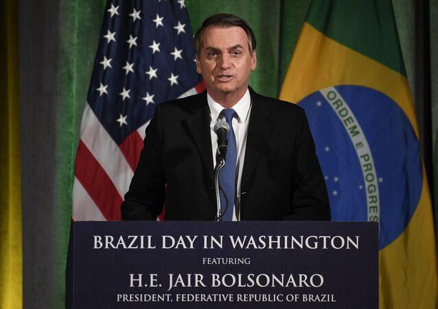 Presidente Bolsonaro discursa na Câmara de Comércio em Washington, 18 de março de 2019