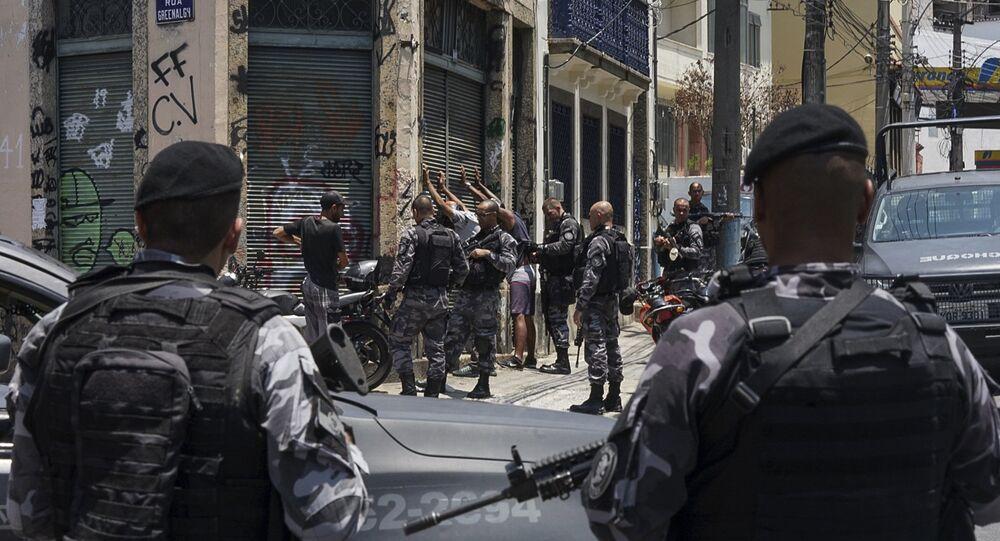 Polícia Militar no Rio de Janeiro durante operação no bairro de Santa Teresa, 8 de fevereiro de 2019