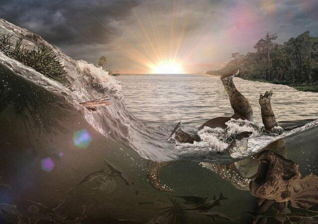 Representação artística da morte de um dinossauro no desastre de Chicxulub, no México