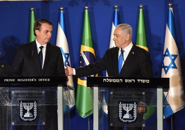 O presidente Jair Bolsonaro e o primeiro-ministro de Israel, Benjamin Netanyahu, em coletiva de imprensa em Jerusalém.