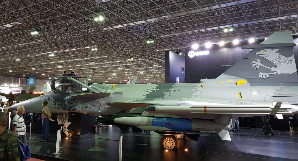 Caça sueco Gripen E, da companhia Saab, parceira da Força Aérea Brasileira (FAB)