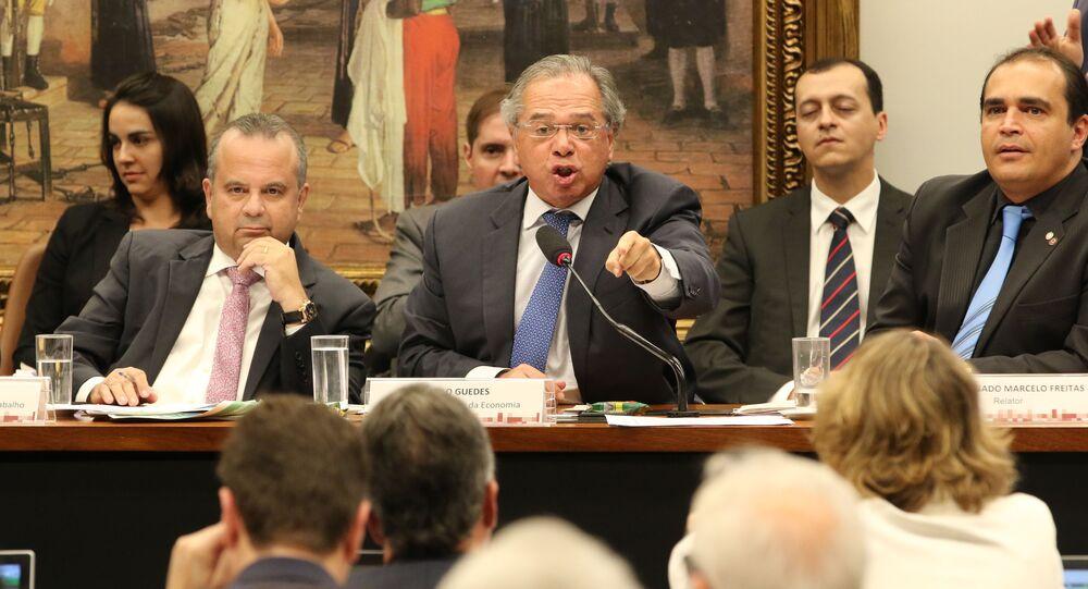 Ministro da Economia, Paulo Guedes, na Comissão de Constituição e Justiça (CCJ) da Câmara, debatendo a reforma da Previdência