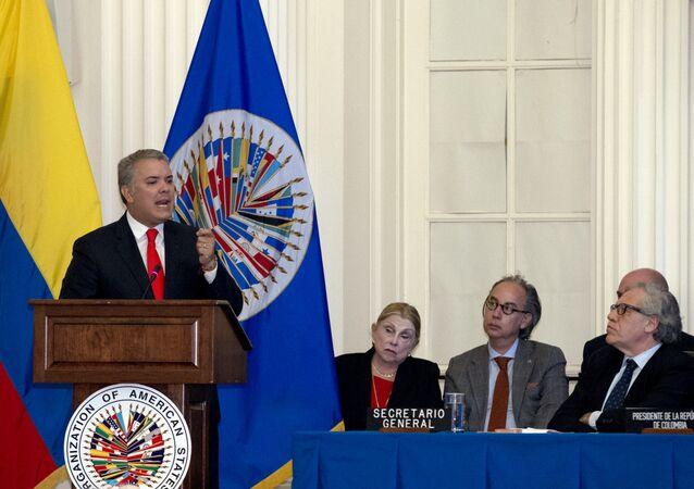 Iván Duque, presidente da Colômbia durante sua visita à OEA