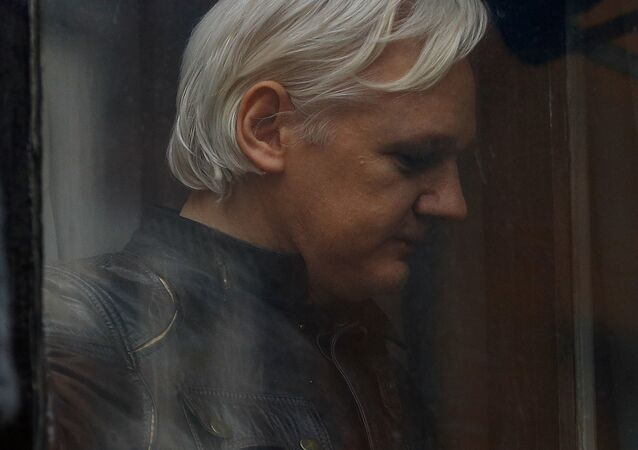 O fundador do WikiLeaks, Julian Assange, na Embaixada do Equador em Londres