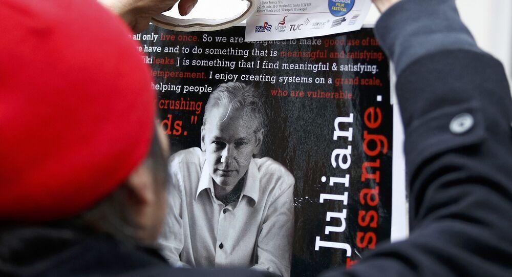 Apoiante de Julian Assange, fundador do portal WikiLeaks, segurando cartaz, Londres, Reino Unido, 14 de novembro de 2016
