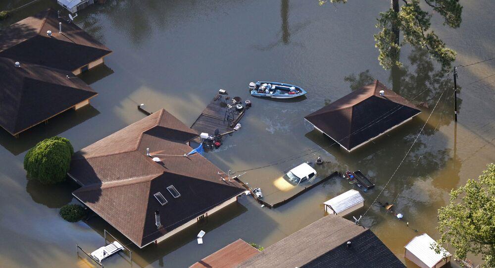 Enchente provocada pela tempestade tropical Harvey em Beaumont, Texas, em agosto de 2017