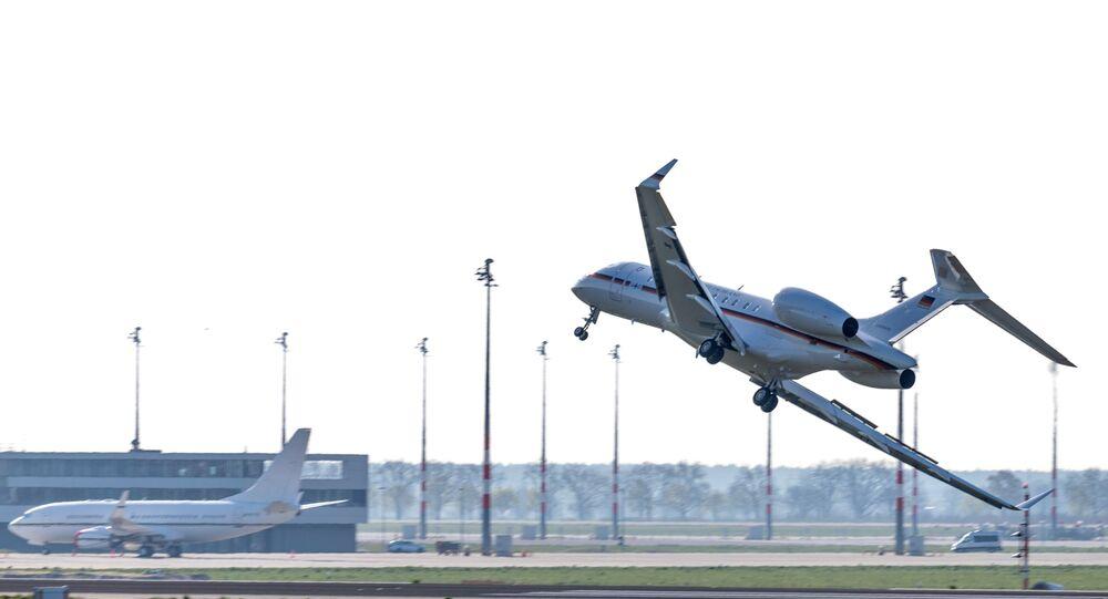 Jato Global 5000 do governo alemão tem problemas ao aterrissar em aeroporto de Berlim