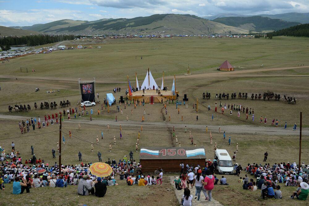 Local da celebração dos 150 anos da União do Povo Telenguita com a Rússia, no povoado Ulagan, da República do Altai