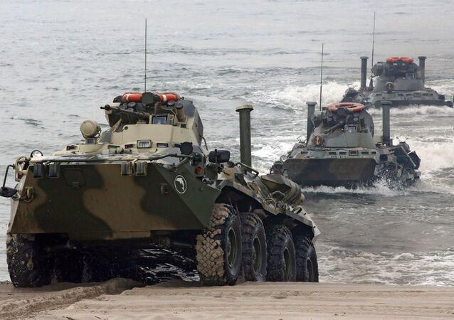 Manobras da Frota do Báltico na costa da região russa de Kaliningrado (imagem referencial)