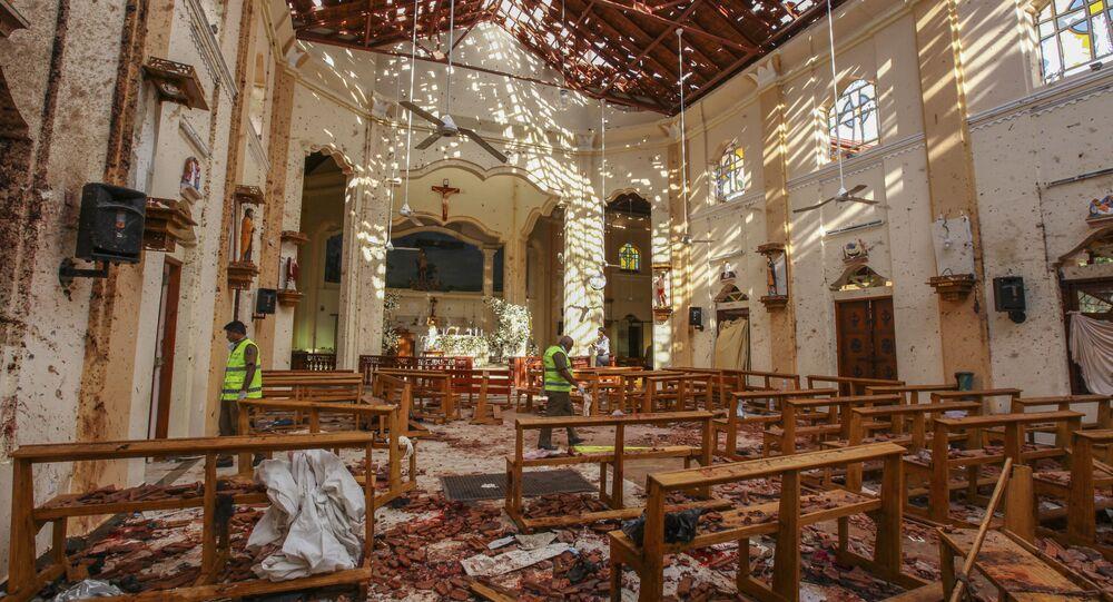 A view of St. Sebastian's Church damaged in blast in Negombo, north of Colombo, Sri Lanka, Sunday, April 21, 2019.
