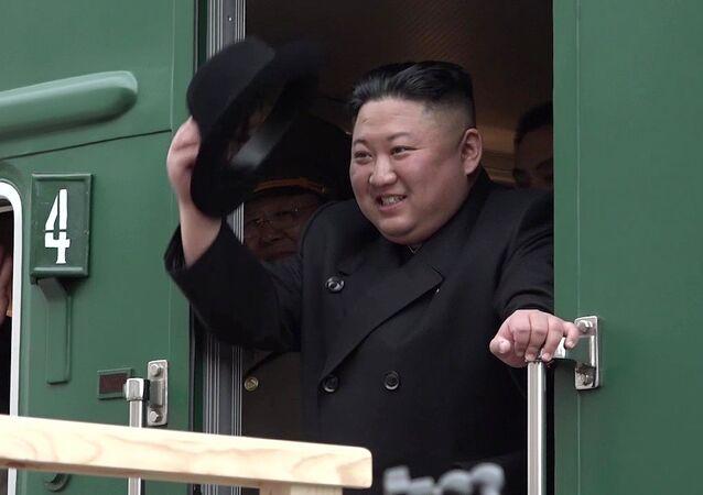 Kim Jong-un na estação ferroviária de Khasan