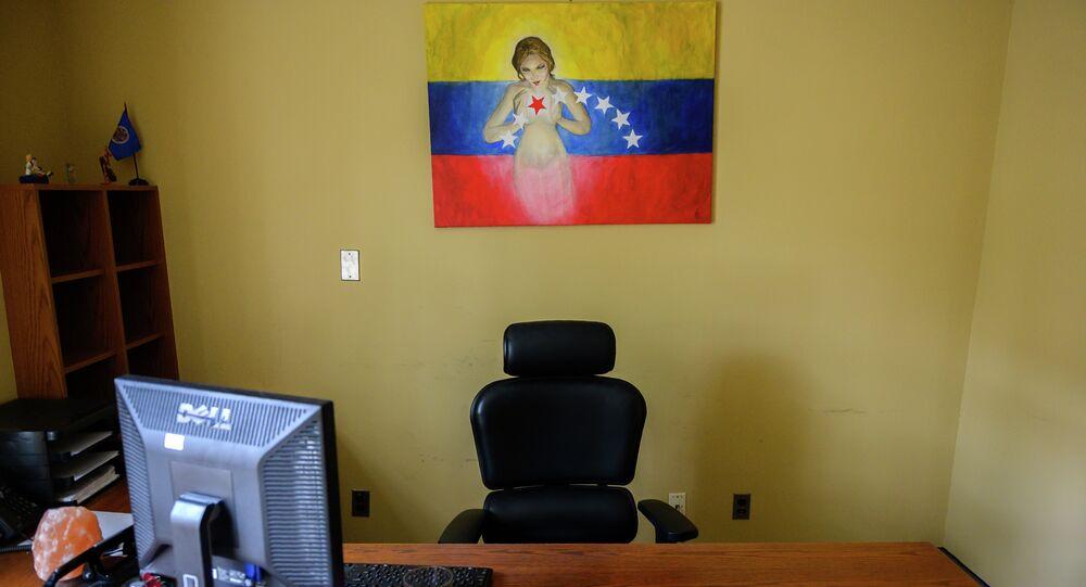 Um dos escritórios da embaixada venezuelana quase abandonada em Washington, nos EUA
