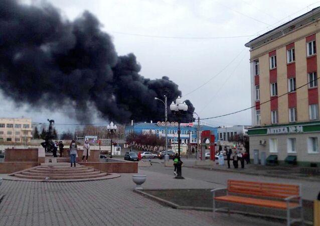 Incêndio no território da fábrica Krasmash