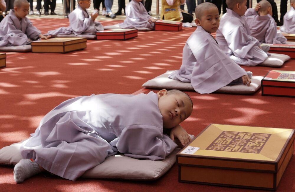 Menino dormindo após a cerimônia de raspagem de cabelo e ordenação como monge realizada em homenagem ao 2563º aniversário do Buda em um tempo em Seul, Coreia do Sul