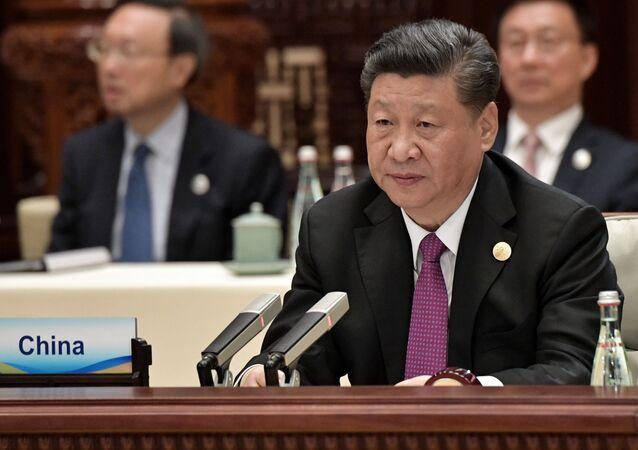 Presidente chinês, Xi Jinping, durante reunião da cúpula da Iniciativa Um Cinturão, Uma Rota (BRI)