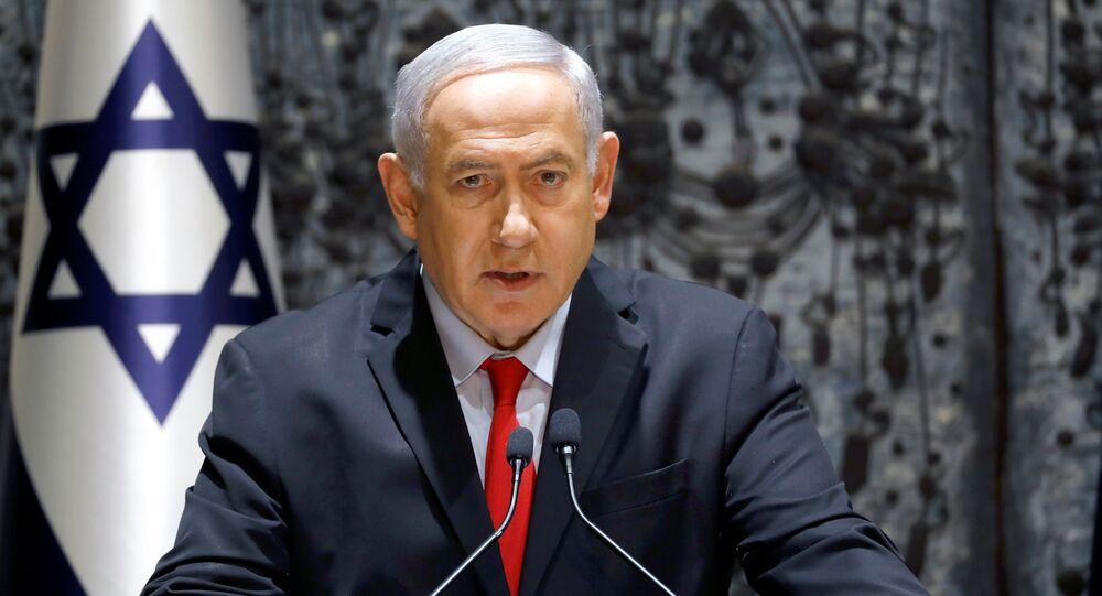 Premiê israelense Benjamin Netanyahu na residência presidencial em Jerusalém, 17 de abril de 2019