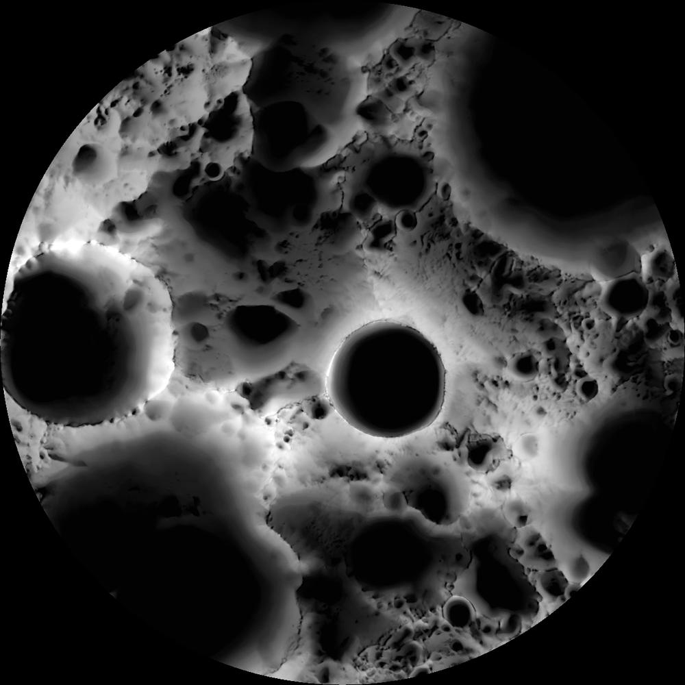 Mapa de iluminação do polo sul da Lua, baseado em imagens da câmera do Orbitador de Reconhecimento Lunar (LRO) da NASA