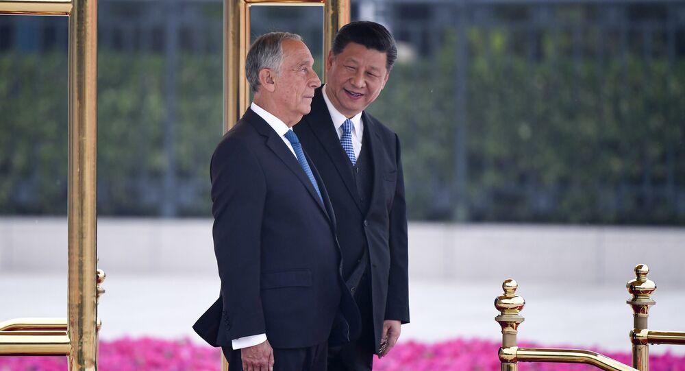 Presidente de Portugal, Marcelo Rebelo de Sousa, e líder da China, Xi Jinping, durante a visita do presidente português à China