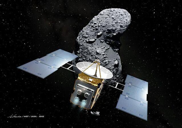 Sonda espacial Hayabusa e o asteroide Itokawa (imagem referencial)