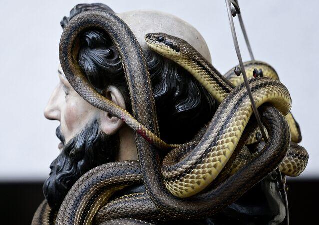 Estátua de São Domingos de Gusmão coberta de cobras durante a celebração do festival anual dos Serpari nas ruas da vila italiana de Cocullo