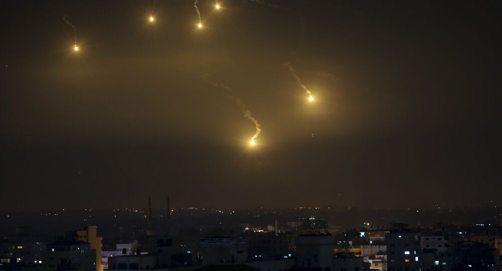 File Photo of Rockets Exploding Over Israel