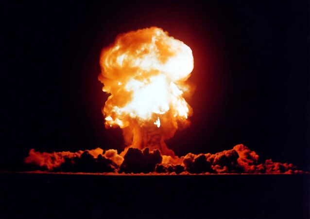 Teste de armas nucleares dos EUA em Nevada, 1957.
