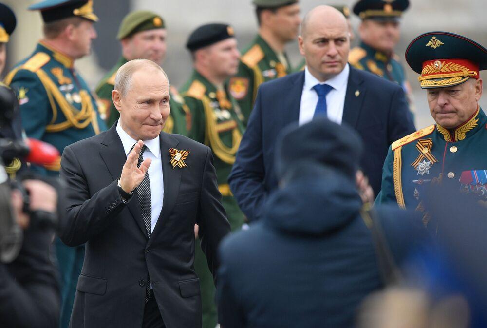Presidente da Rússia, Vladimir Putin, durante a parada do Dia da Vitória