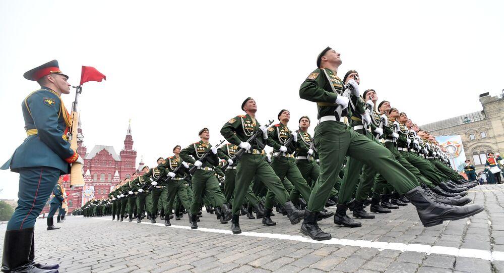 Militares na Parada da Vitória em Moscou, 9 de maio de 2019