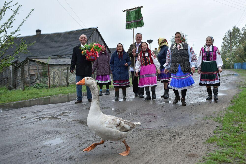 Um ganso caminha na estrada, enquanto aldeões bielorrussos participam do rito religioso Yuriev Den (Dia de Yuri)