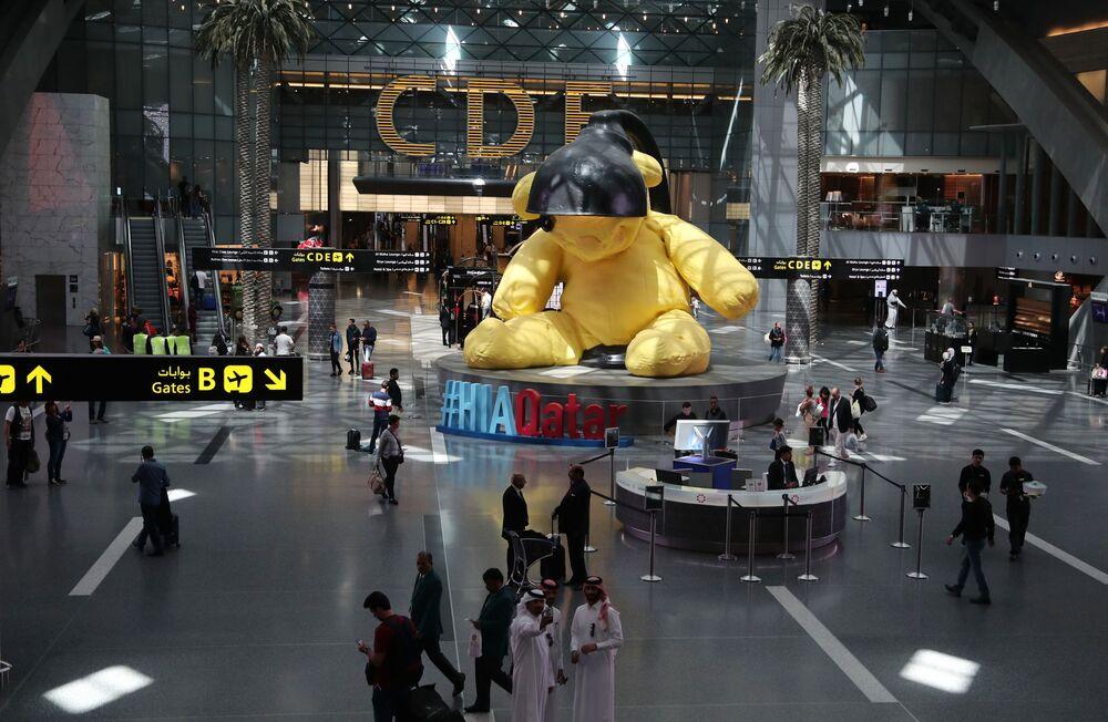Vista do terminal do Aeroporto Internacional de Hamad em Doha