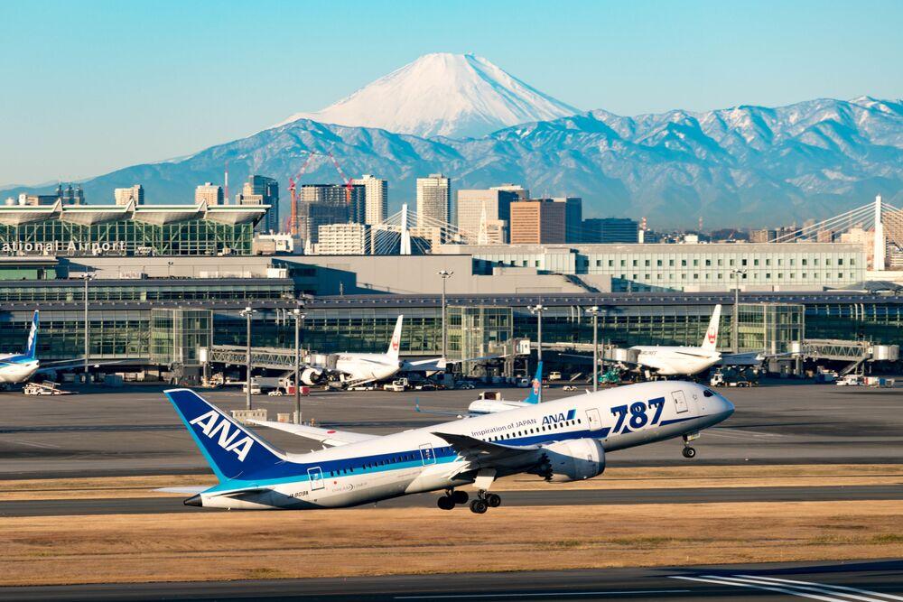 Vista do Aeroporto Internacional de Tóquio