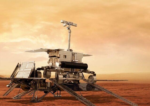 Modelo do rover ExoMars a ser usado pela Agência Espacial Europeia para perfurar o Planeta Vermelho em 2020 (imagem de arquivo)