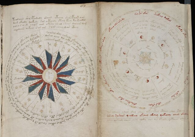 Páginas com texto do manuscrito de Voynich