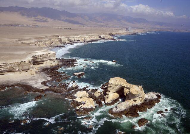 Litoral perto de Antofagasta, atualmente no Chile, em janeiro de 2014