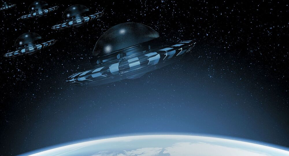 Imagem artística de OVNIs perto da Terra