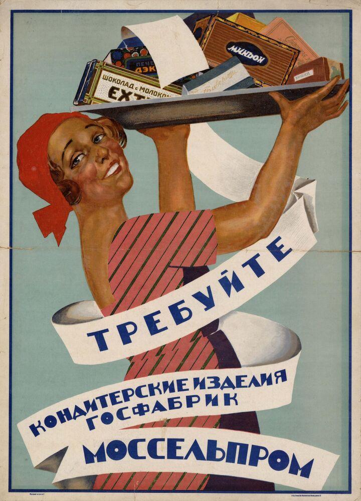 Promoção de bolachas e outros produtos de confeitaria de Moscou, 1928