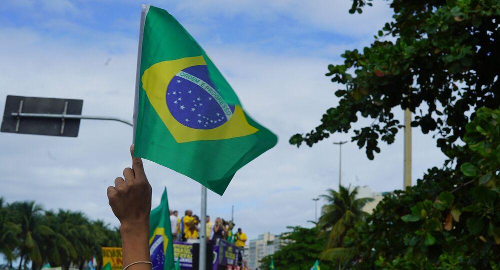 Bandeira do Brasil fotografada durante ato de manifestação a favor do presidente Jair Bolsonaro (arquivo)