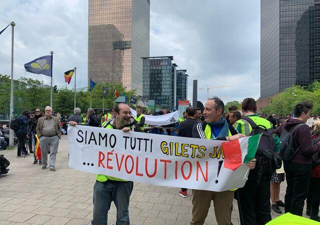 Manifestação dos coletes amarelos em Bruxelas, Bélgica