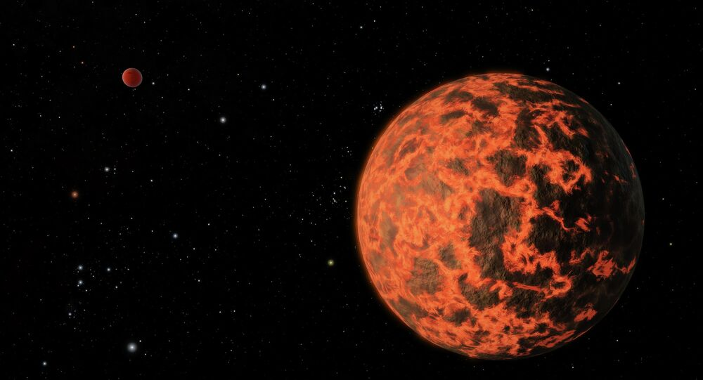 Imagem artística de exoplaneta extremamente quente