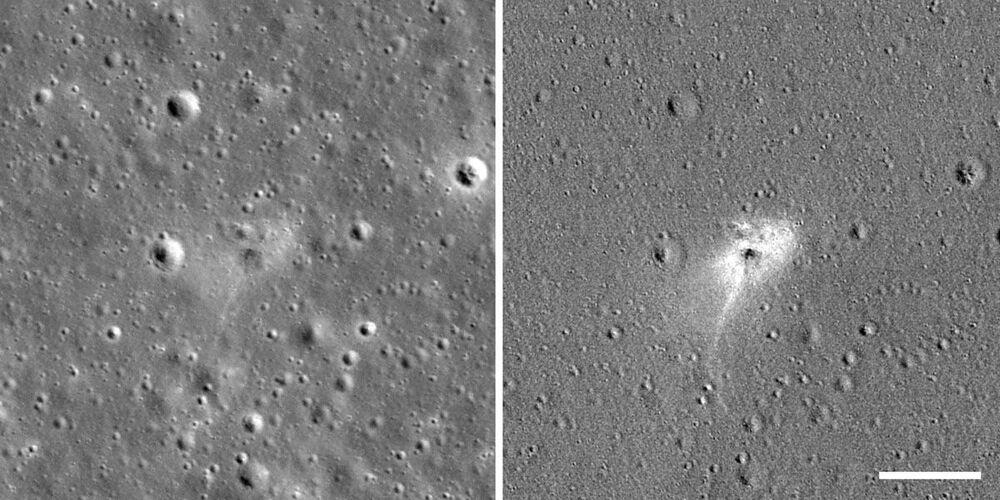 Local na superfície lunar onde caiu a sonda israelense Beresheet, vista por uma espaçonave da NASA