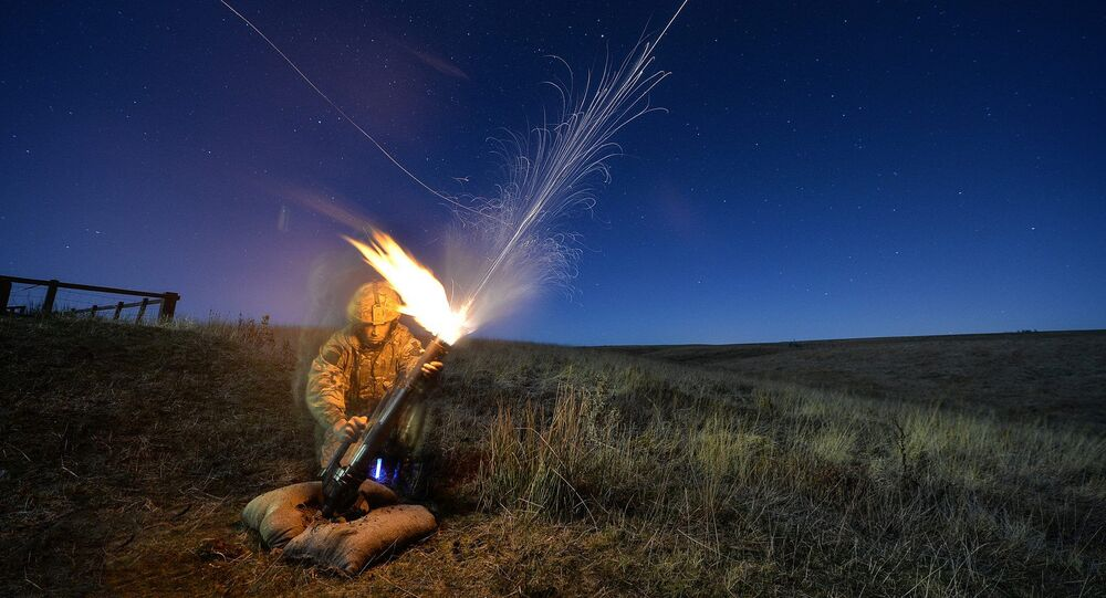 Paratrooper firing a mortar