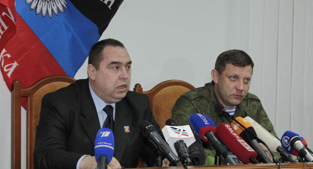 Líderes da RPD e RPL Aleksandr Zakharchenko e Igor Plotnitsky