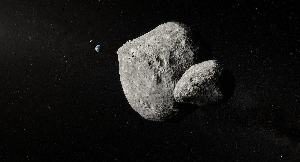 Imagem artística do asteroide duplo 1999 KW4 criada com base na fotografia tirada pelo telescópio VLT