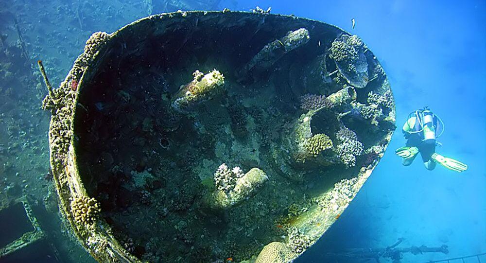 Navio afundado Giannis D no recife Abu Nuhas, no mar Vermelho (imagem referencial)