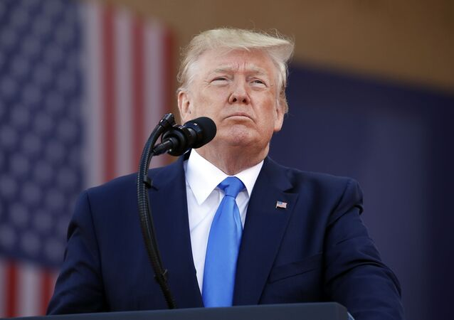 Presidente dos EUA Donald Trump durante cerimônia para comemorar o 75º aniversário do Dia D, Normandia, França, 6 de junho de 2019