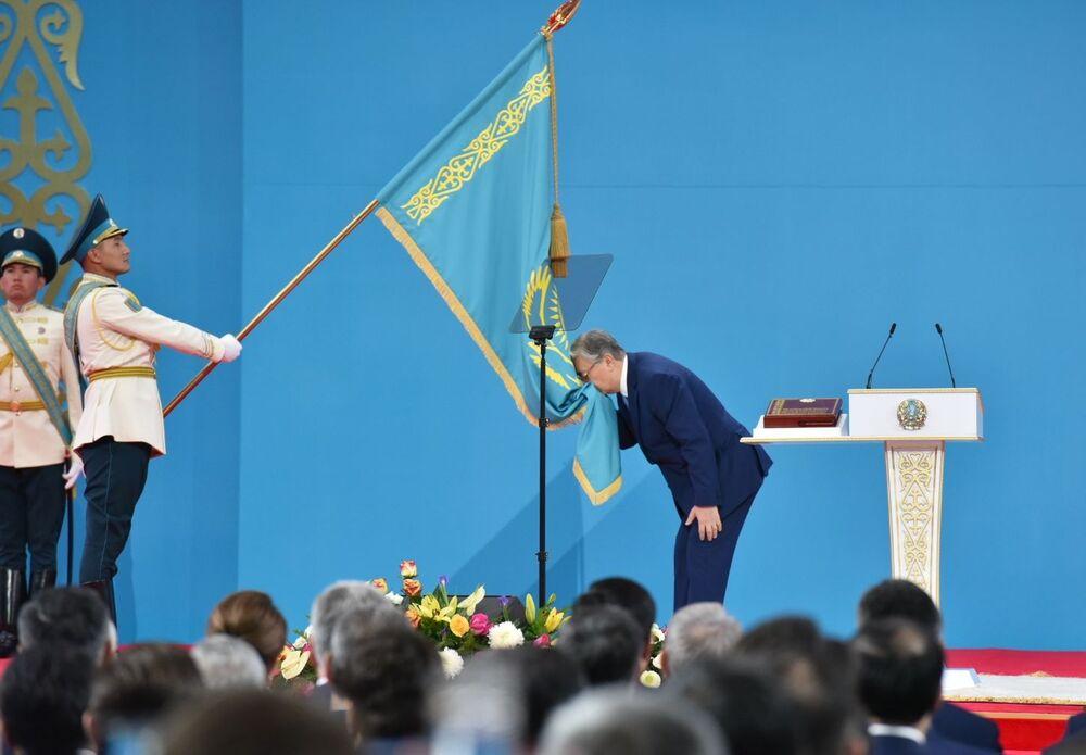 Presidente eleito do Cazaquistão, Kasym-Jomart Tokayev, durante cerimônia de posse