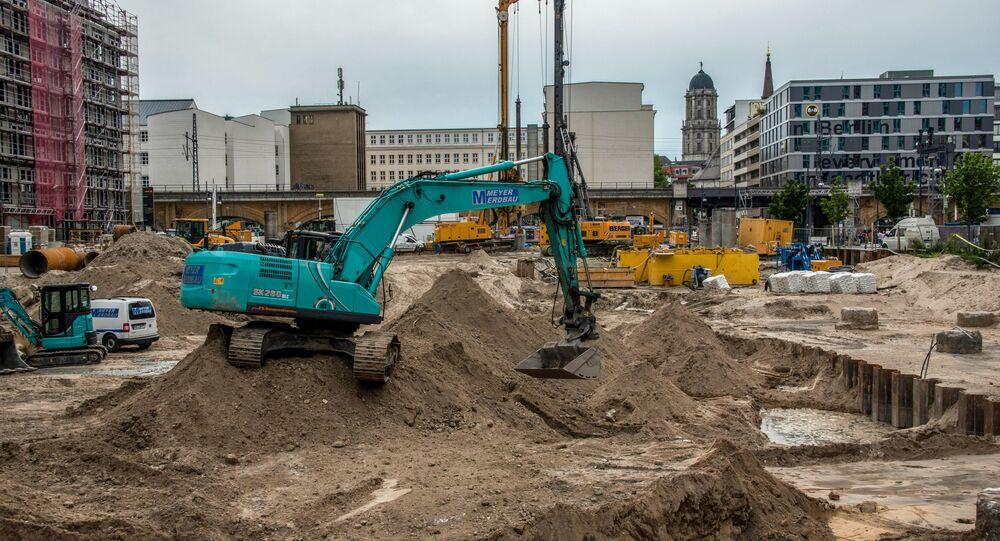 Canteiro de obras próximo à praça Alexanderplatz, em Berlim, onde uma bomba de 100 kg da Segunda Guerra Mundial foi descoberta em 14 de junho de 2019