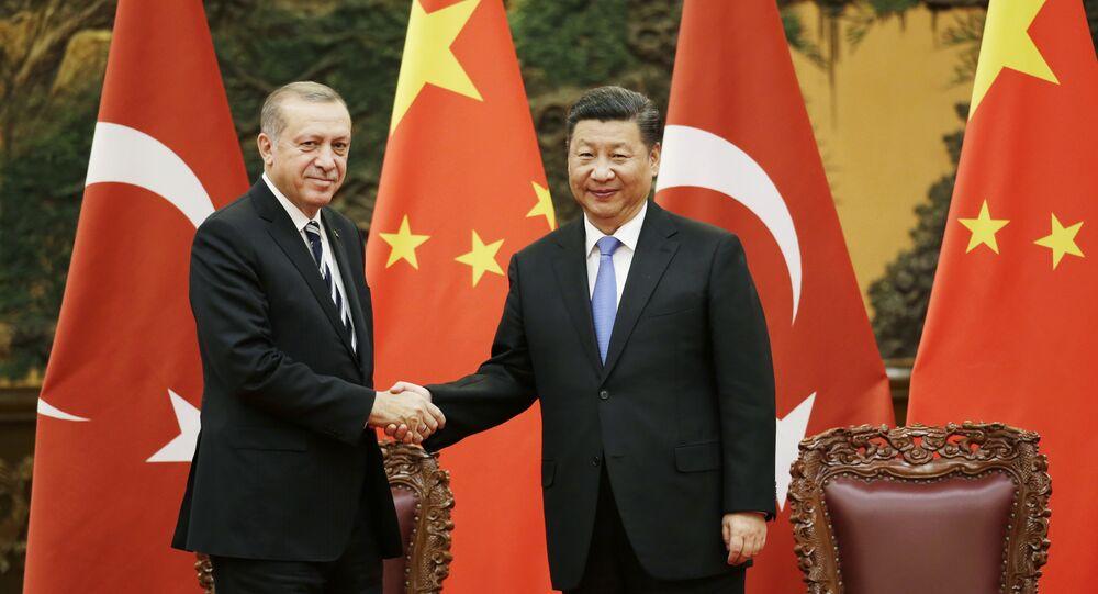 Recep Tayyip Erdogan e Xi Jinping (arquivo)