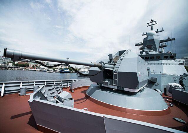Canhão automático A-190 da corveta russa Sovershenny