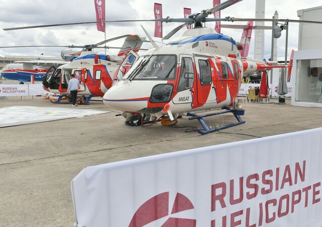 Helicóptero leve polivalente russo Ansat no Aeroporto de Le Bourget, onde se realiza o Show Aéreo de Paris 2019